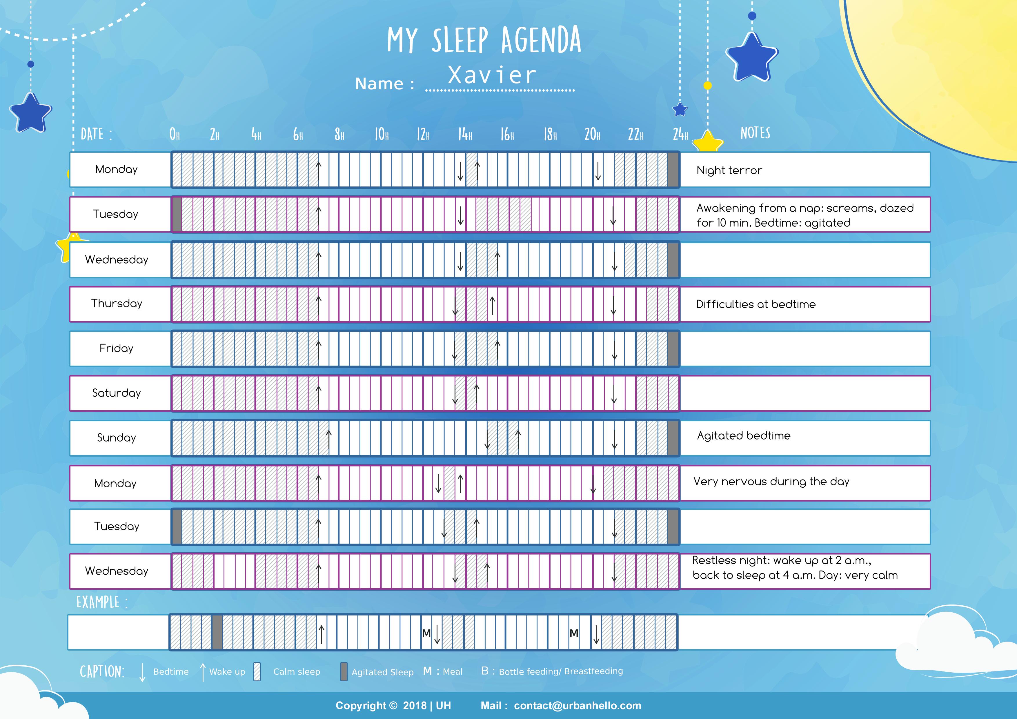 Agenda heure de sommeil enfant : Xavier