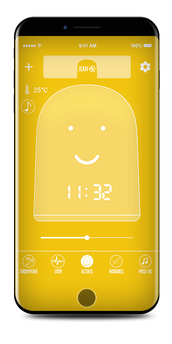 Designer child clock and baby monitor for a better sleep